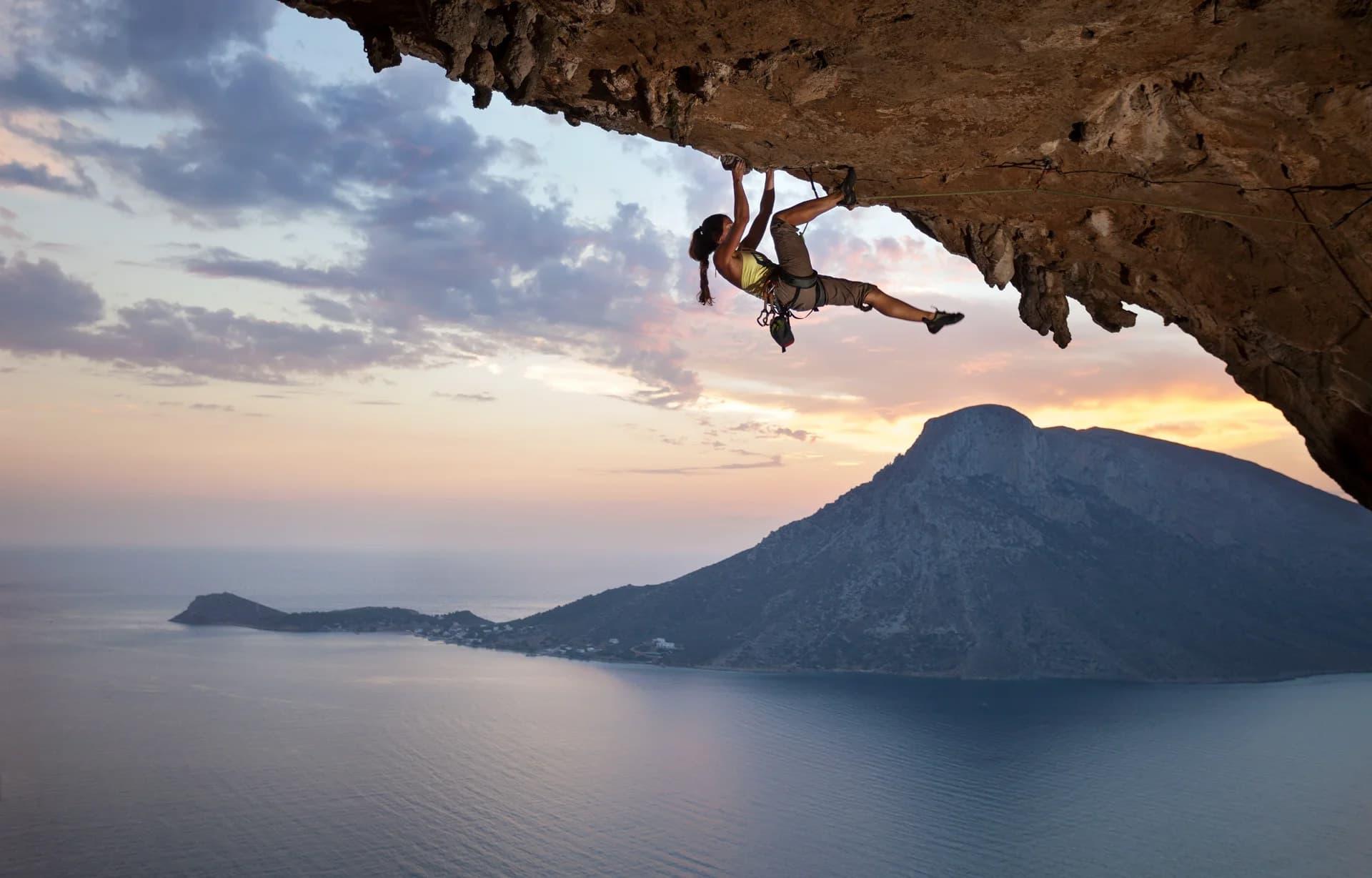Quiply Klettern in Sizilien mit Sicherheitsgurt