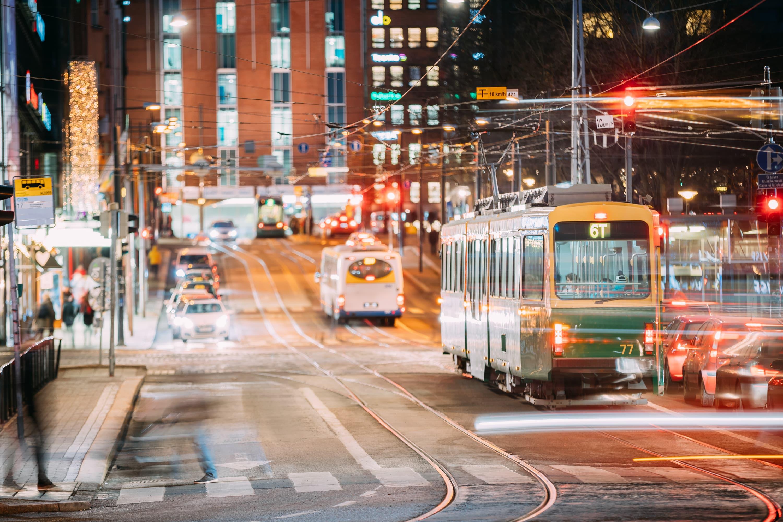Kommunale Unternehmen Straßenbahn und Nahverkehr Helsinki Nacht
