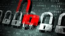 Security concept Lock on digital screen illustration