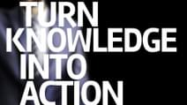 Turn Knowledge Into Action written on a board with a business man on background 1