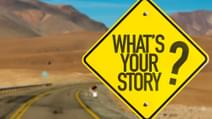 Whats Your Story3 F sign on desert road