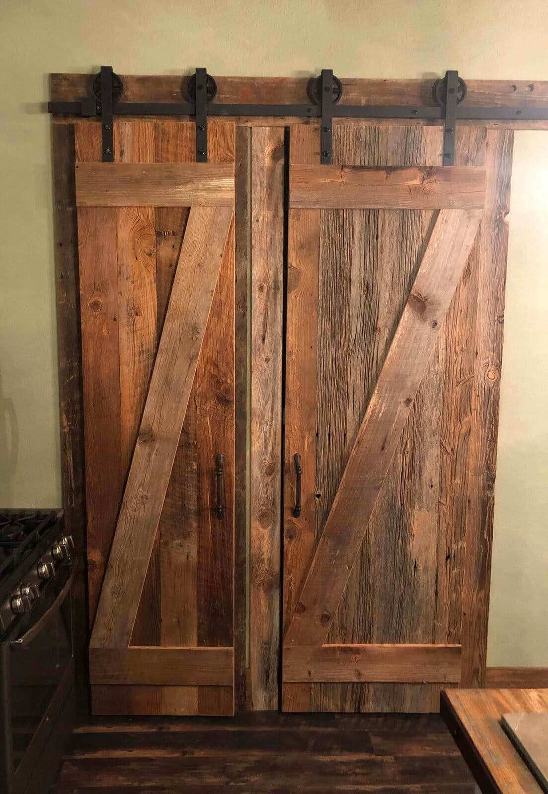 Reclaimed barn wood doors with original surface pine.