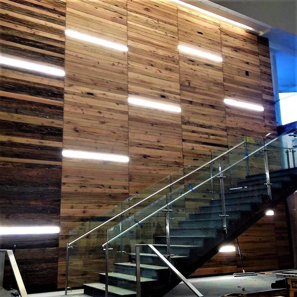 Oak Reclaimed Wood cladding accent wall in NC Research Triangle
