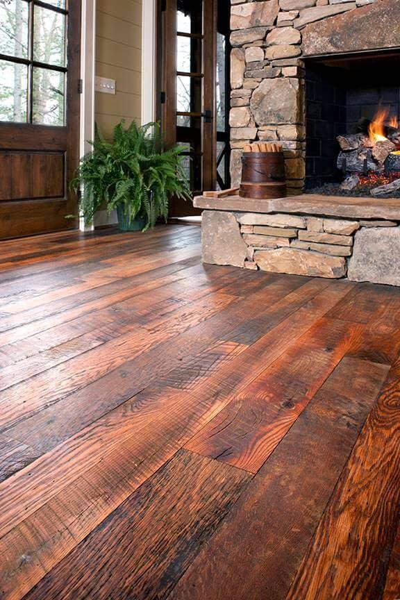 Carolina Character Oak floor by a fireplace in flat rock, nc