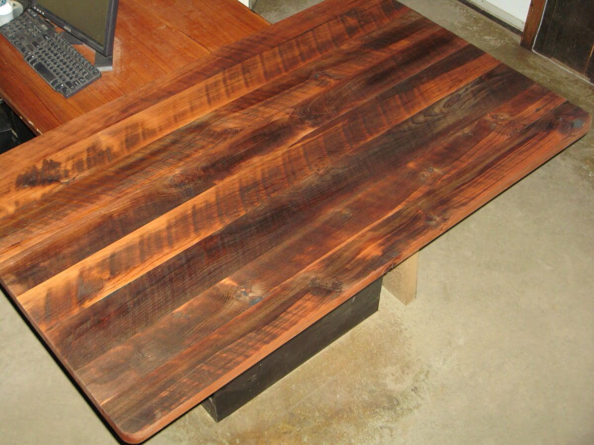 looking down on a Character Heart Pine Coffee Table Oil Finished