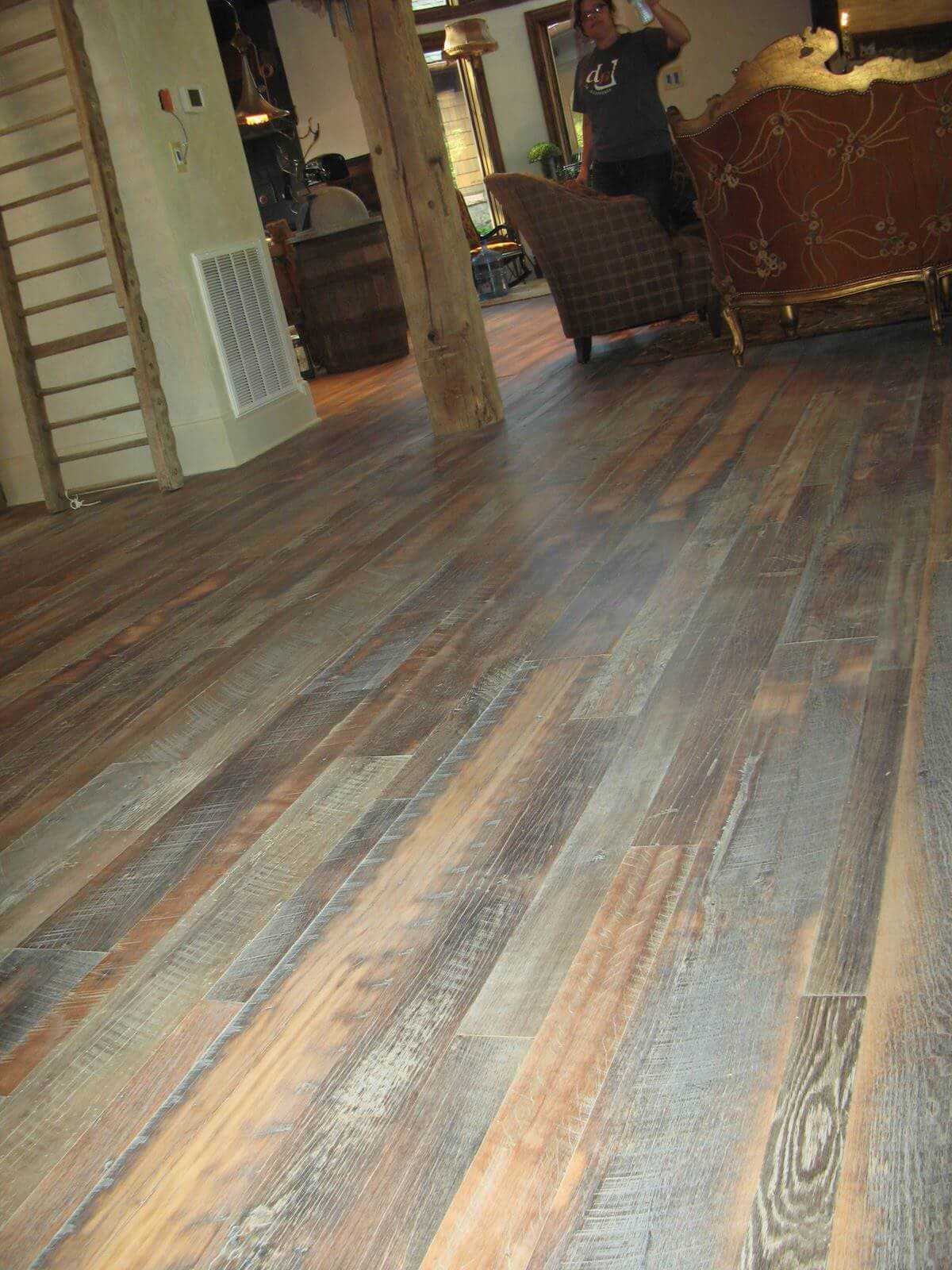 Character reclaimed hardwood floor Hickory NC castle grey WOCA oil
