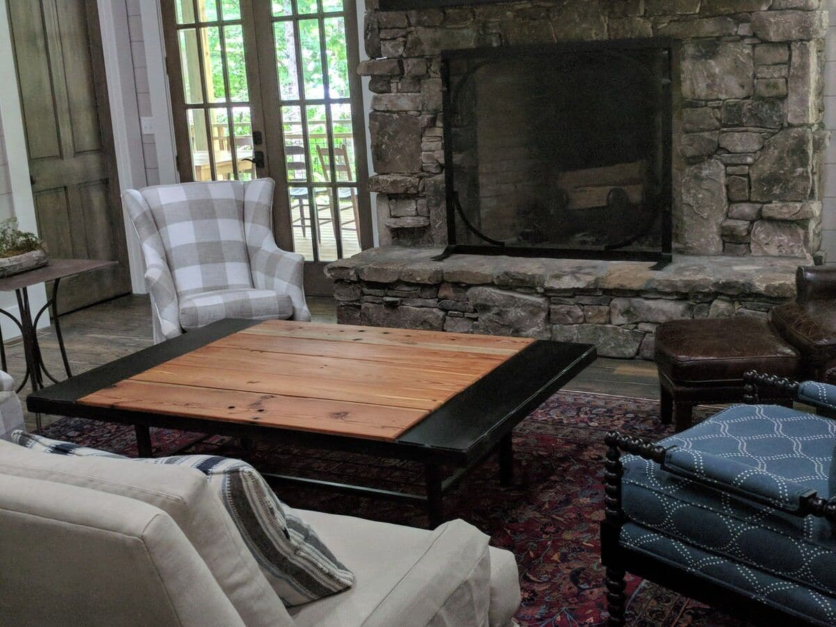 Heart Pine Coffee Table with black steel frame in flat rock, nc