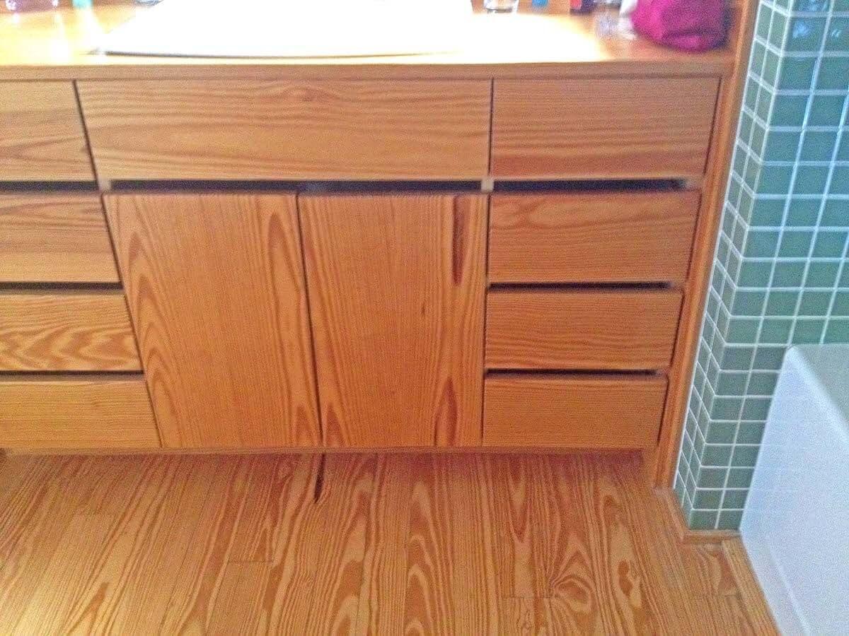 Heart Pine Vanity and floor in a bathroom, hendersonville, nc