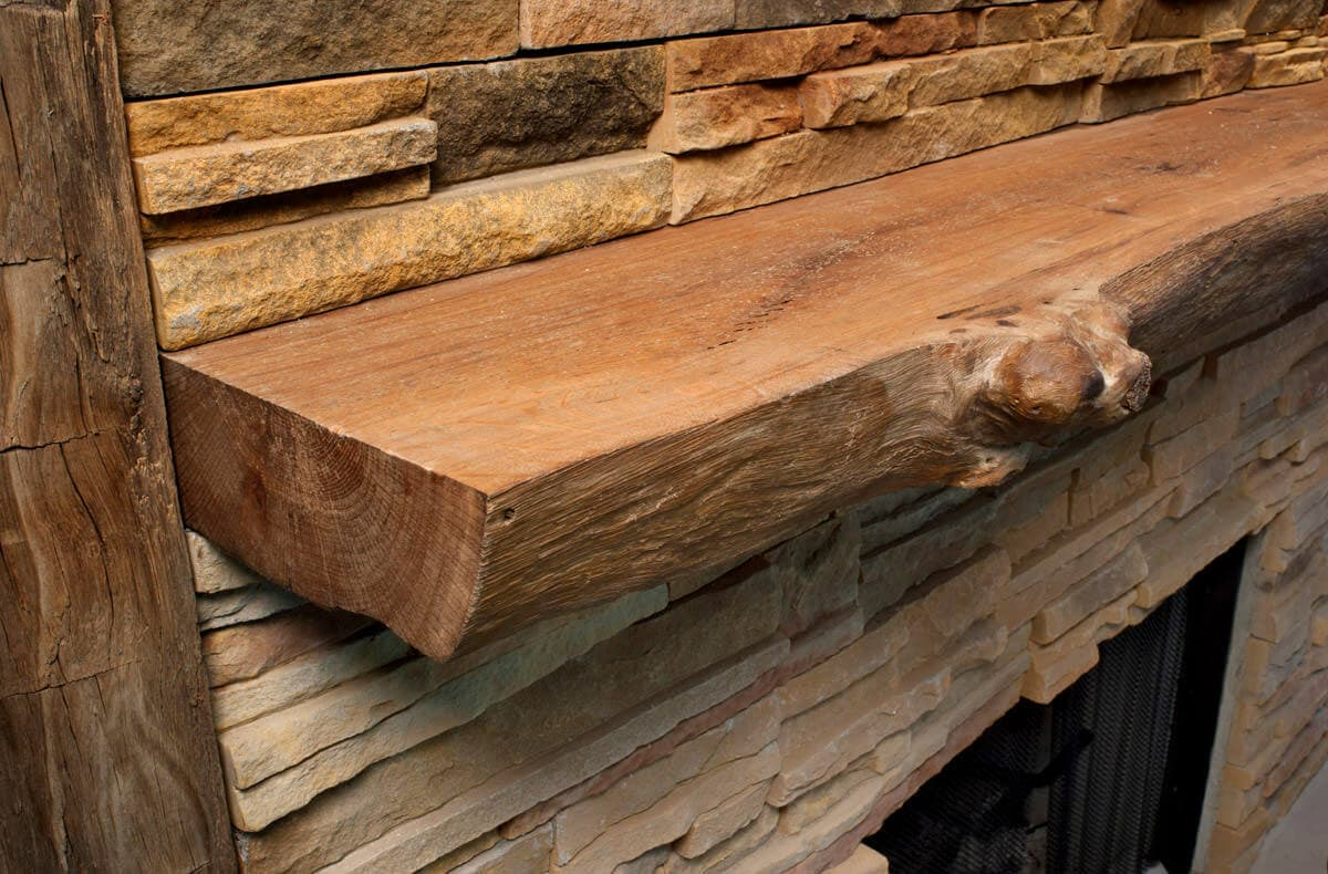 Knobby Live Edge Fireplace Mantel with Natural Oil Finish