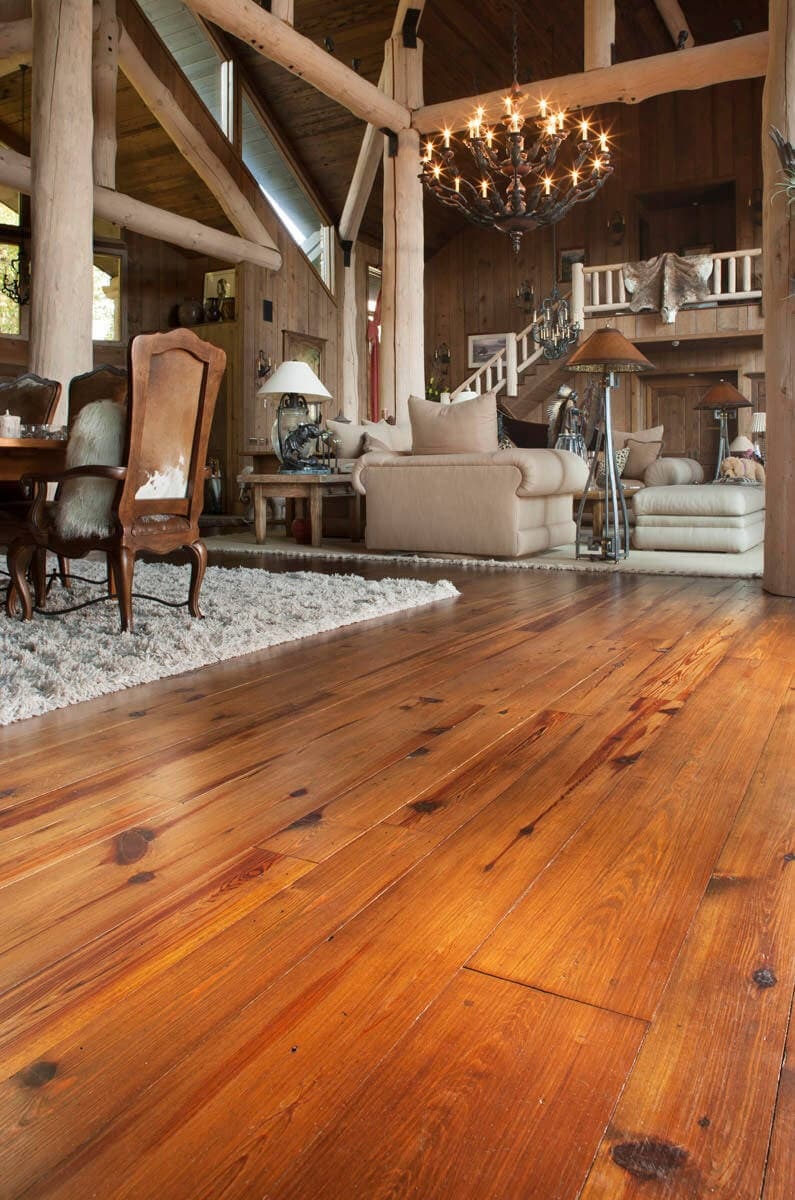 wide plank knotty Plain Sawn Heart Pine floor in flat rock nc