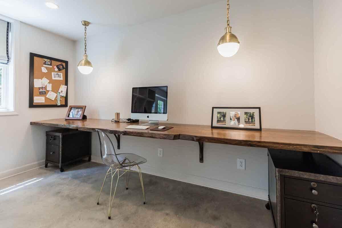 Live Edge reclaimed Oak workstation in home office hear greenville sc