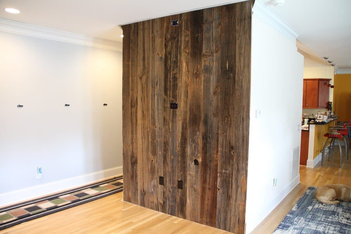Original Surface Hardwood Accent Wall in a Winnabow, NC home