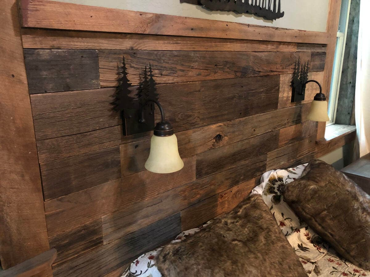 Original Surface Pine Headboard with two custom installed hanging lights