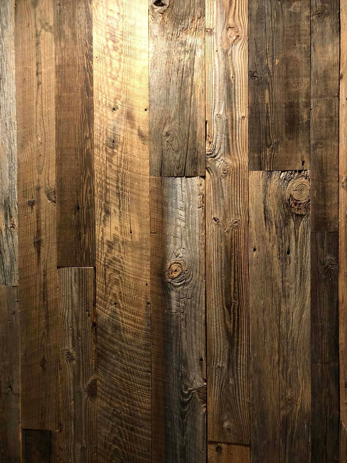 Original Surface Pine Wall Cladding planks in vertical alignment