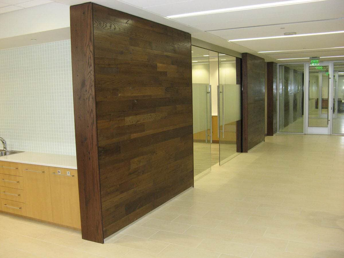 Progress Energy reclaimed wood and glass office hallways