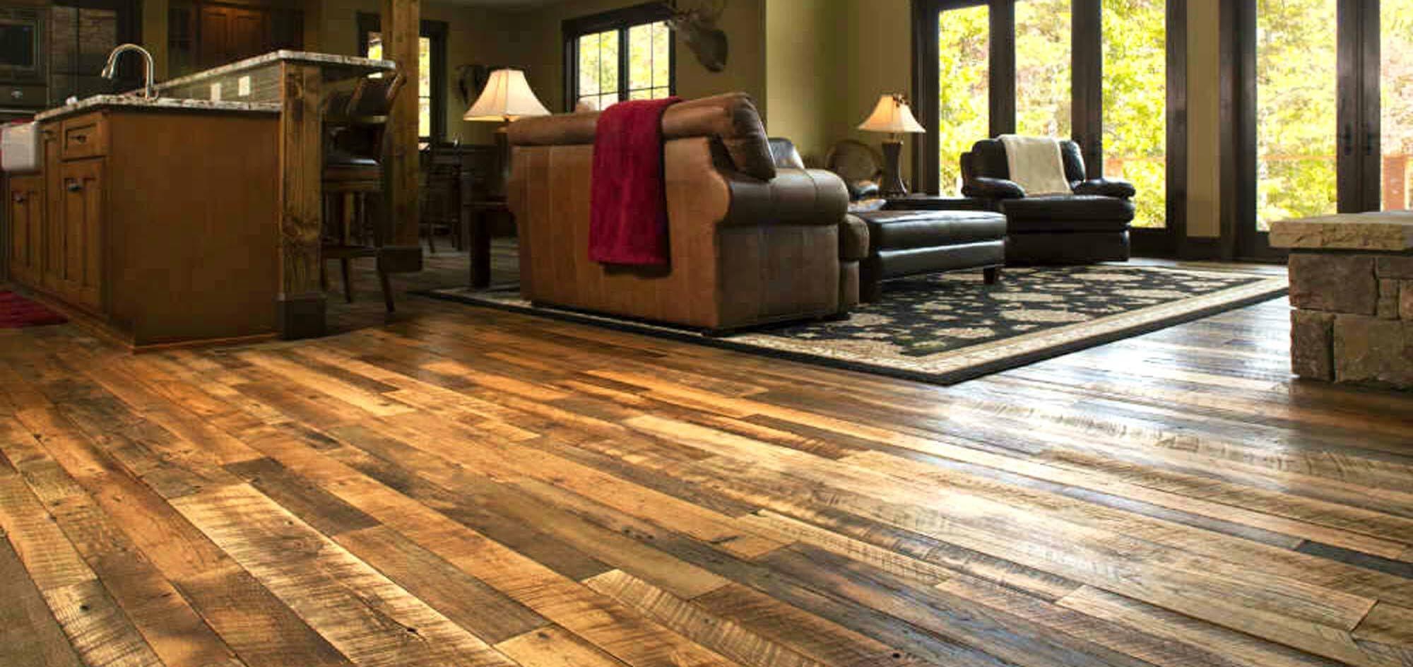 Reclaimed engineered hardwood floor in Black Mountain North Carolina.