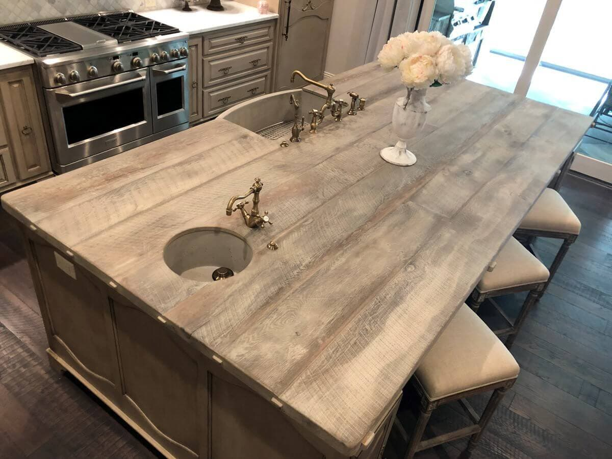 view from above of  refined character Kitchen Counter island with 2 sinks