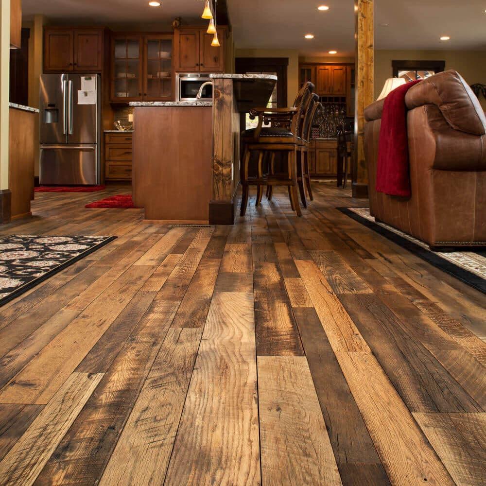 Reclaimed barnwood flooring in Black Mountain North Carolina home.