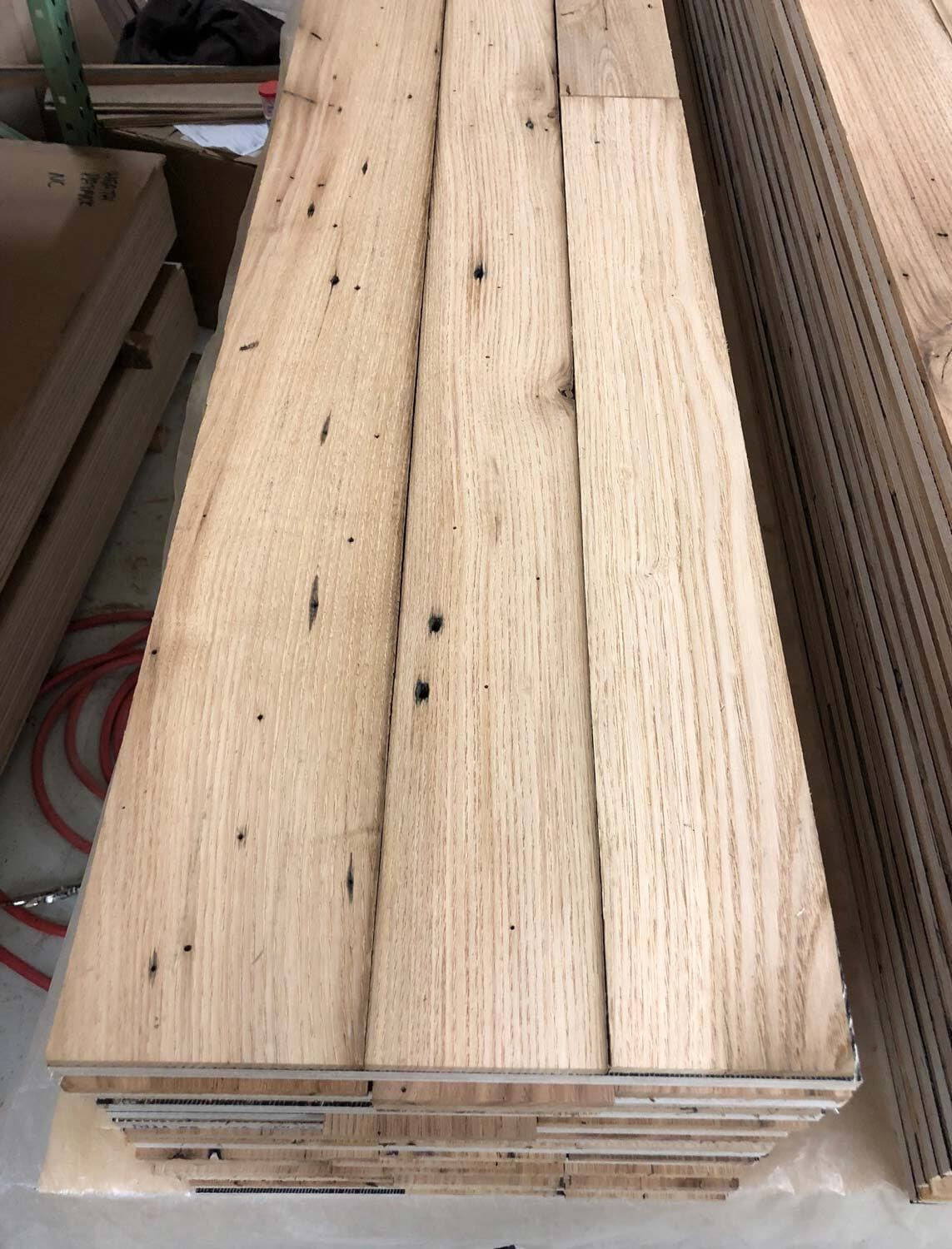 Reclaimed engineered flooring made from reclaimed chestnut wood.