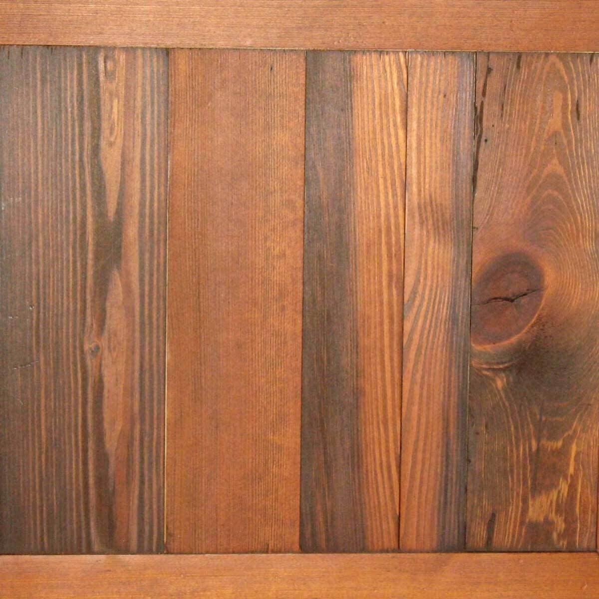 Rhode Island Brown Cabin Grade Heart Pine wood finish.