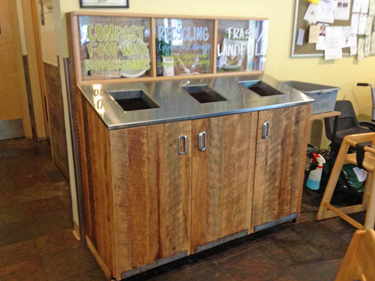 Rustic Wood Cladding Recycling Station