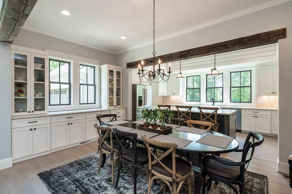 Original Surface Circle Sawn Hardwood Dining Room Beams