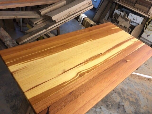 Vertical Grain Heart Pine Natural Oil Finish in production facility