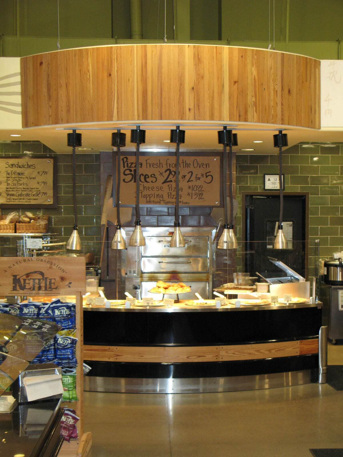 heart pine deli bar paneling accent at whole food store in raleigh nc