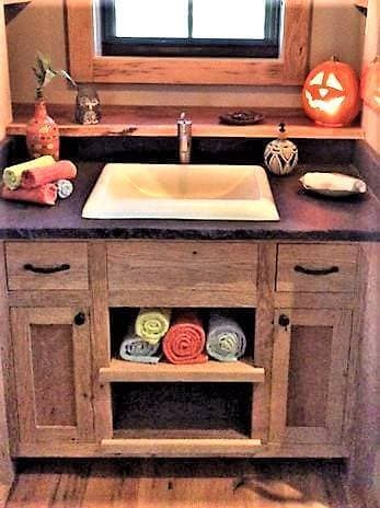Washing Up With Reclaimed Wood in a Tiny House in lake toxaway, nc