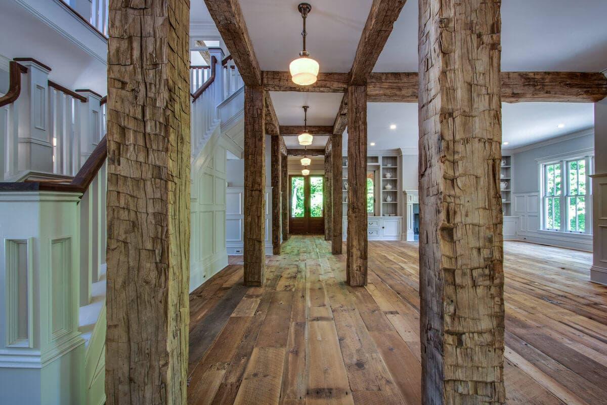 Reclaimed wood beams in Willow Creek home.