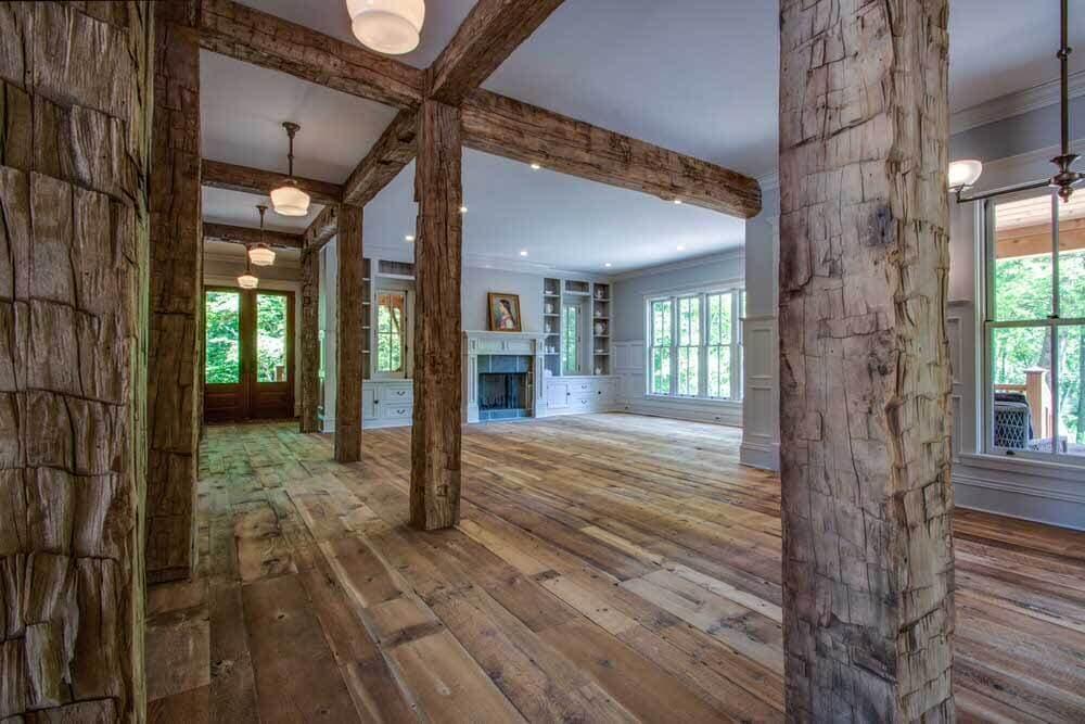 Reclaimed wood beams in Willow Creek South Carolina home.