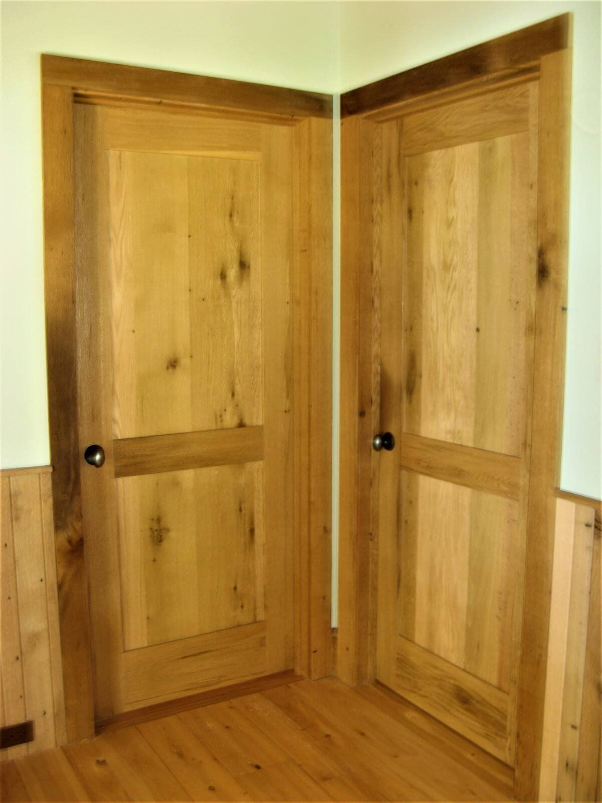 antique chestnut double doors in a corner in lake james nc