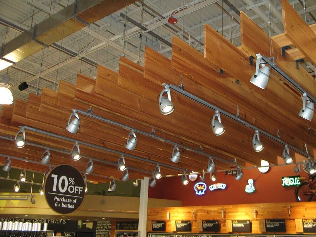 Antique heart pine ceiling baffles