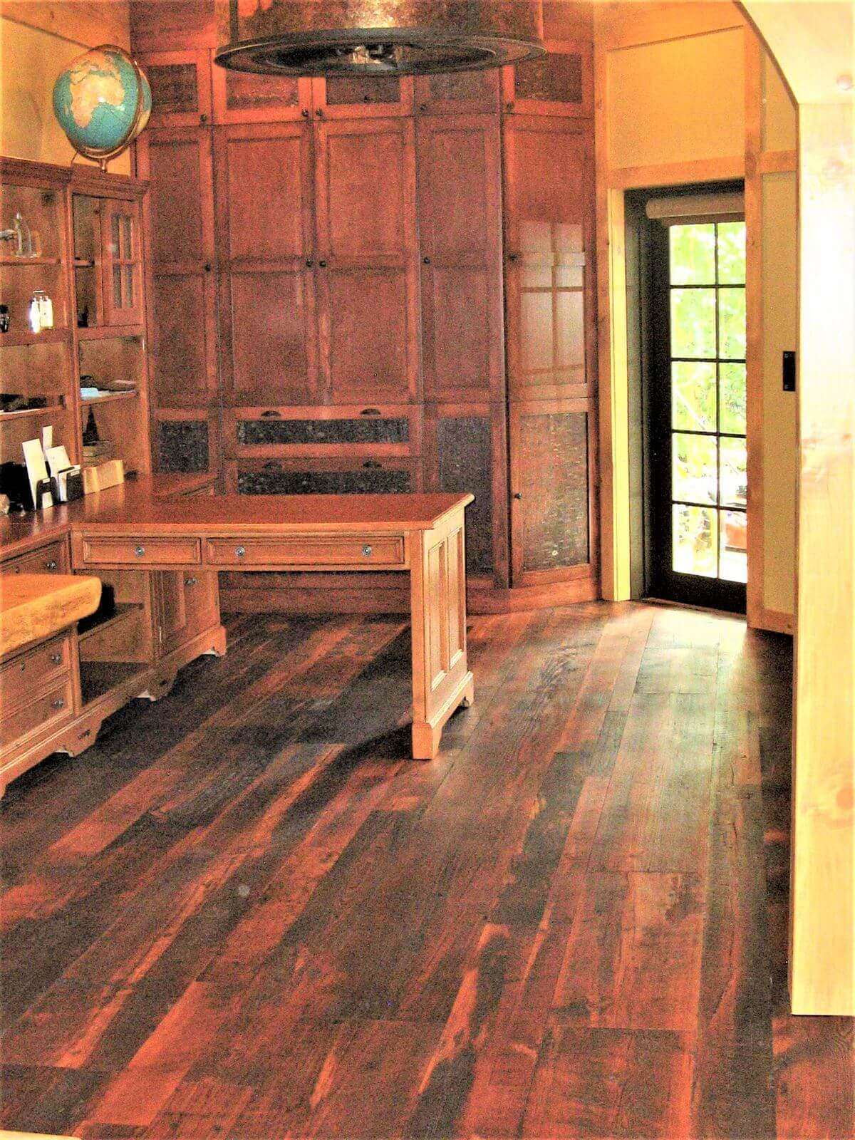 Antique heart pine character floor with woca rhode island brown oil finish