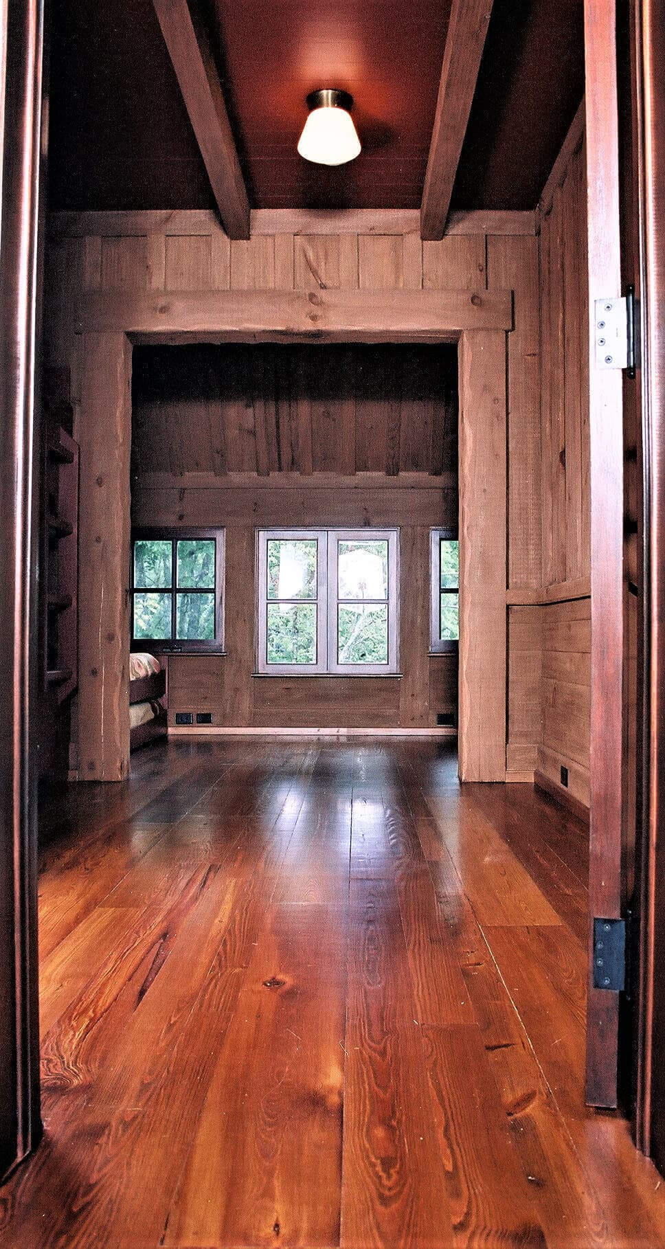 Antique heart pine flooring window view in Lake Toxaway NC