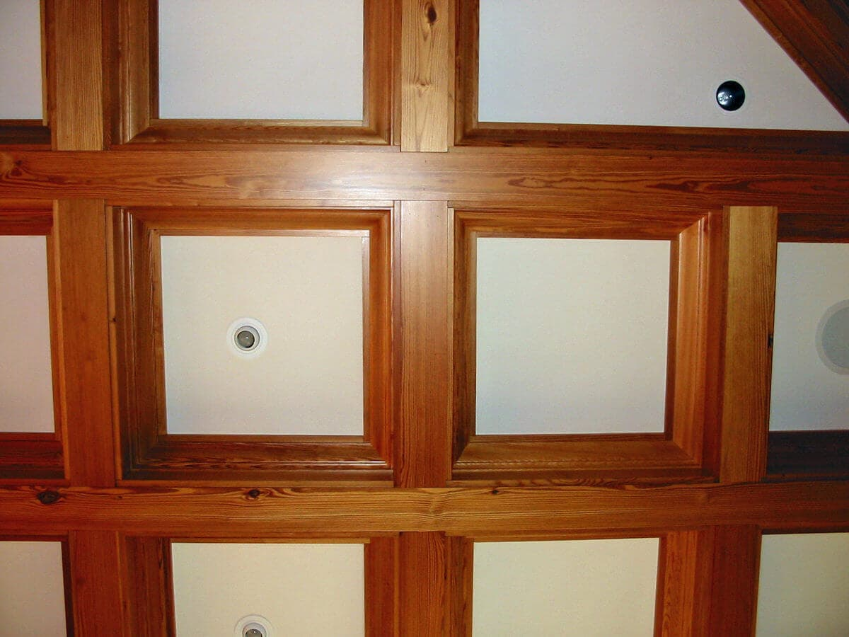 Antique heartpine coffered ceiling hendersonville, nc