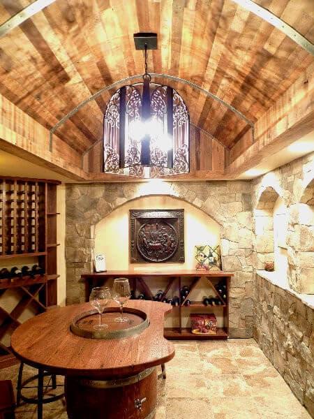 reclaimed oak wine room barrel ceiling at Cliffs Valley Community, SC