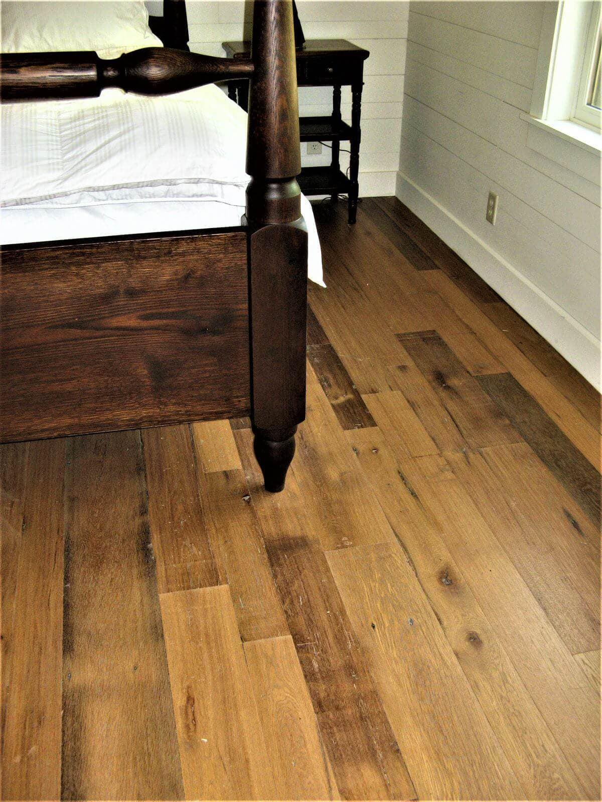 Classic wood flooring in bedroom.