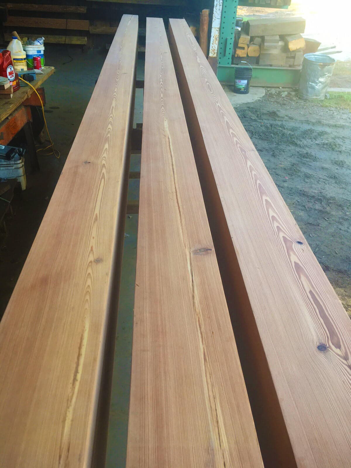 heart pine box beams before install