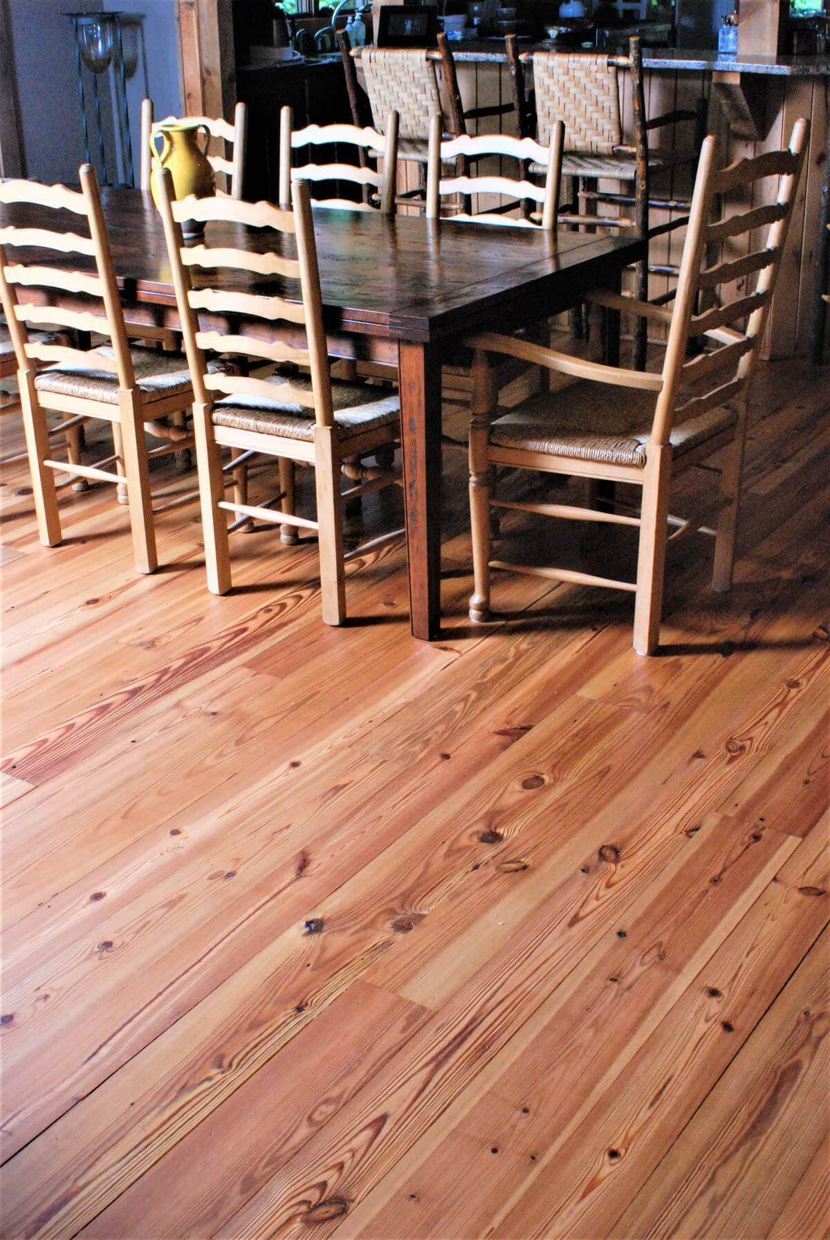 Cabin grade heart pine floor in room with ladder back chairs, hendersonville nc 5