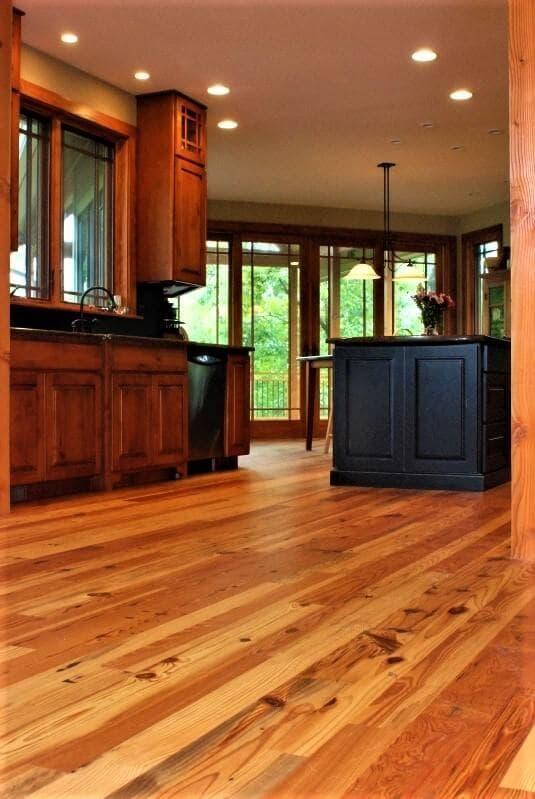 Cabin grade heart pine floor in a kitchen hendersonville nc 1