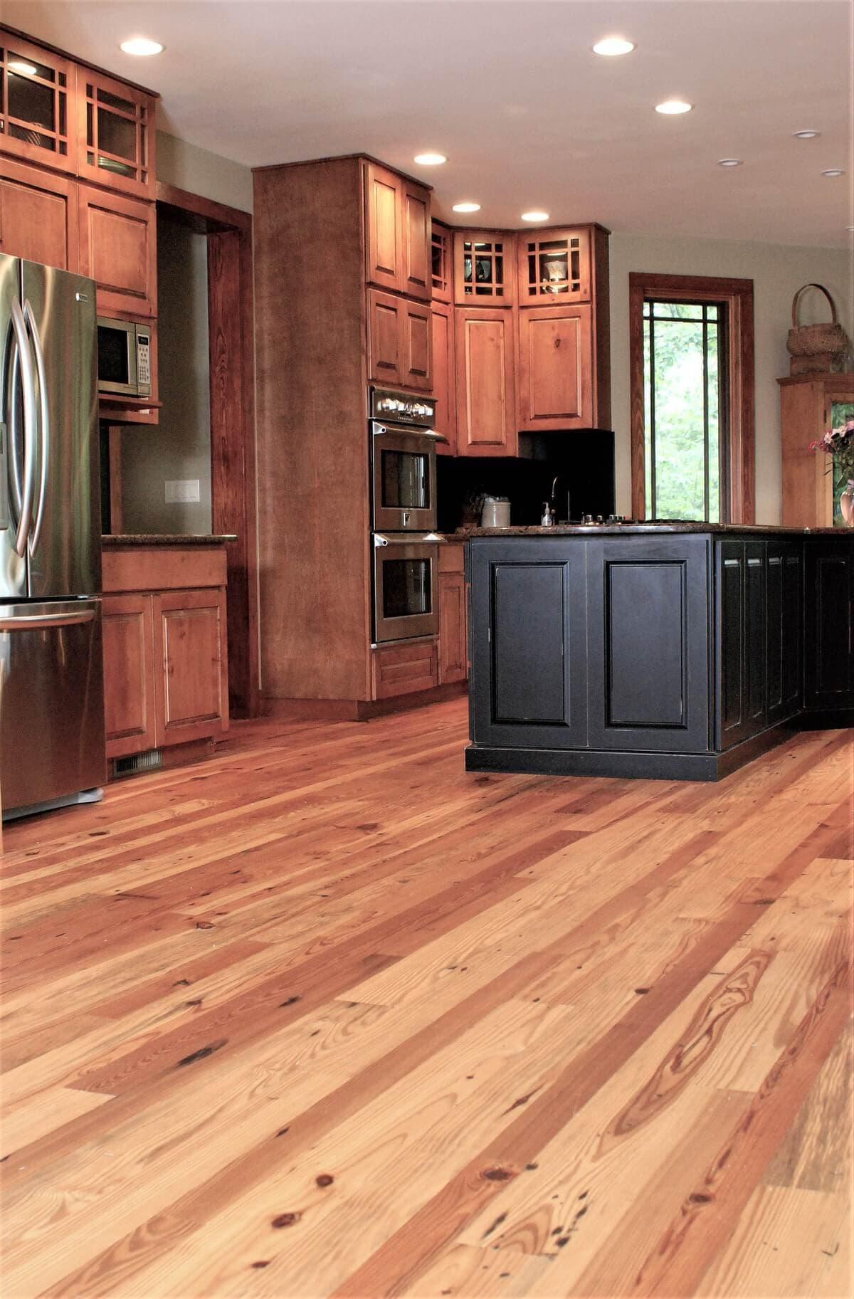 Cabin grade heart pine kitchen floor in hendersonville nc 2