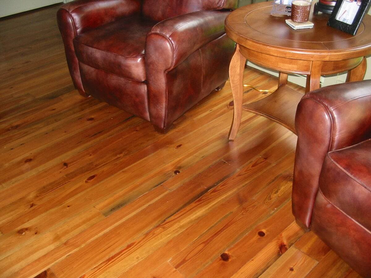 Cabin grade heart pine floor, 2 chairs and a table, lake toxaway nc 1