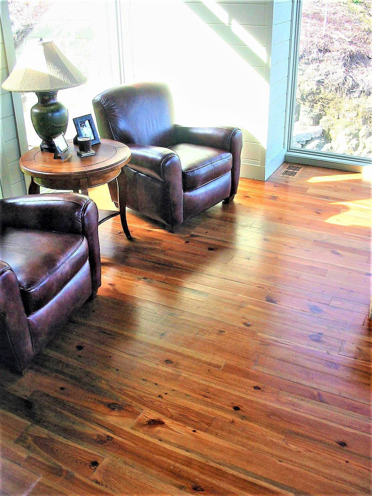 heart pine Cabin grade flooring and two chairs - lake toxaway nc