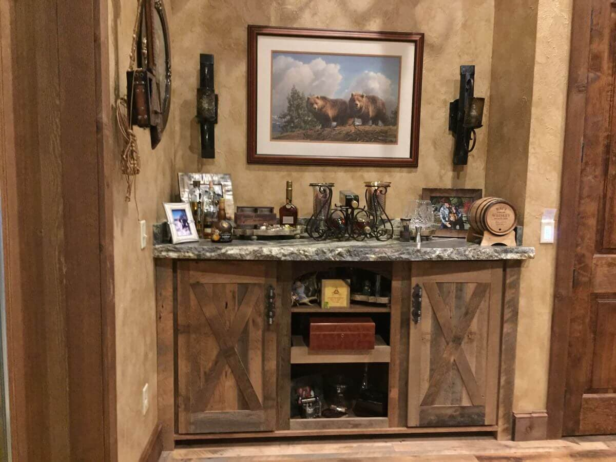 reclaimed wood credenza and cabinets in an alcove in lake toxaway, nc