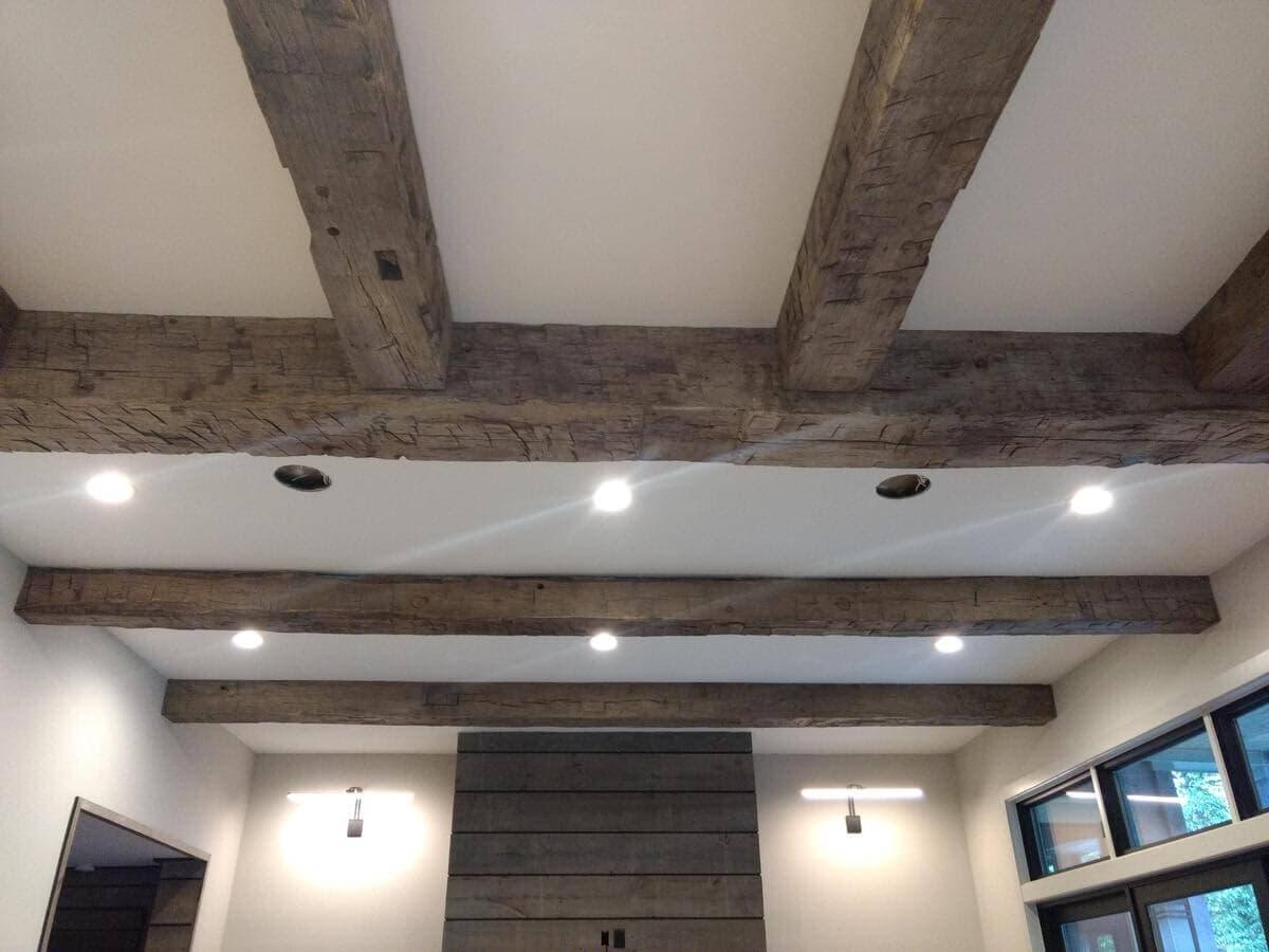 Hand hewn ceiling beams at Hilton Head SC