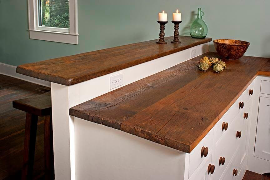 Character Heart Pine Kitchen Countertop and Bar over painted white wood drawers in  Greenville SC