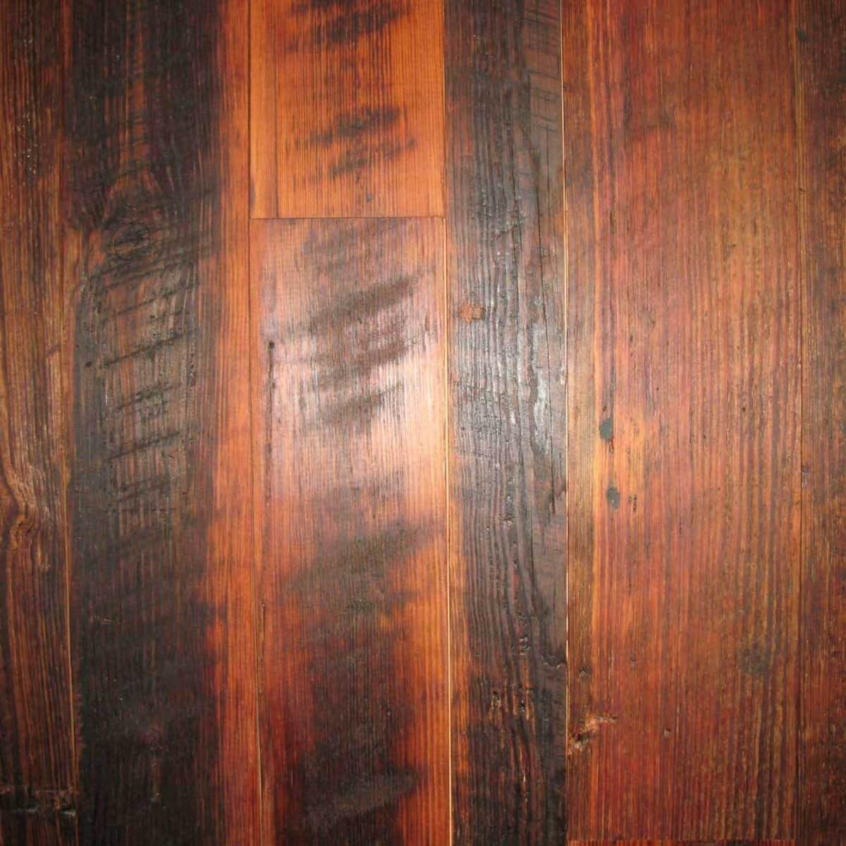 Carolina Character heart pine with dark finish.