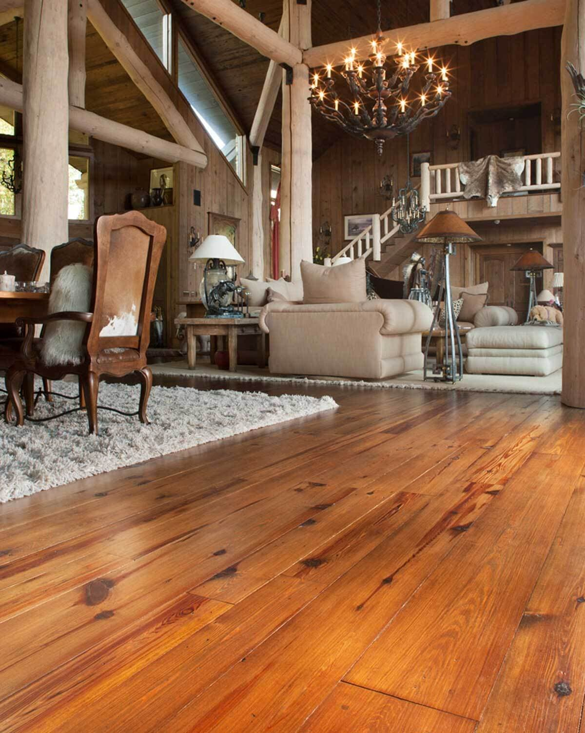 Classic Heart Pine floor in Flack Rock North Carolina home.