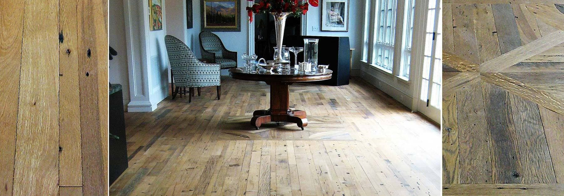 Classic reclaimed white oak flooring with beautiful inlay.